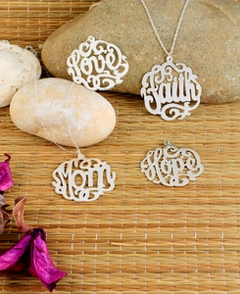 "Scripted Name Necklace ""Faith"" ""Hope"" ""Love"" ""Mom"""
