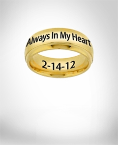 "Stainless Steel Gold Tone Band ""Always In My Heart"""