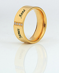 Stainless Steel 14K Gold Plated Band with Cubic Zirconia for Him