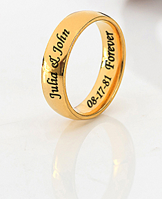 Stainless Steel Gold Tone Wedding Band for Her