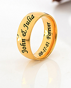 Stainless Steel Gold Tone Wedding Band for Him