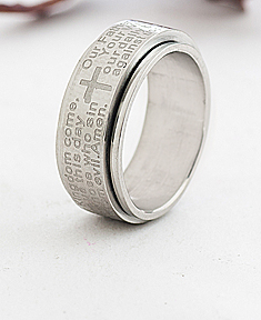 Stainless Steel Religious Spinner Ring for Him