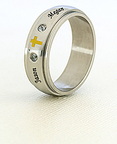 Stainless Steel Spinner Ring with Cubic Zirconia Stones and Cross for Him
