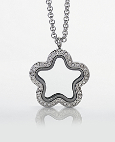 Star Locket with Zirconia Crystals and 4 Floating Motifs of your choice