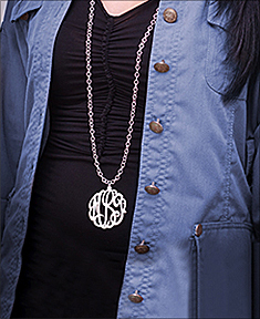 "2"" Monogram Necklace with 36"" Link Chain"