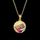 Color Medium Round Portrait Pendant with Dia Cut