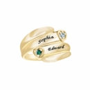 Couple's Ring with 2 Birthstones & Names