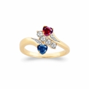 Family Ring with Two Heart Shaped Birthstones and CZ's
