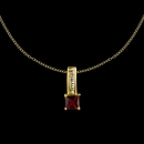 "Mother's Necklace w/ Square Shape Birthstone Charm & 18"" Link Chain"