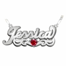 """Name Plate with Heart Shaped Birthstone """"Jessica"""""""
