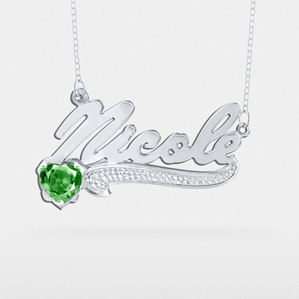 "Name Plate with Heart Shaped Birthstone ""Nicole"""