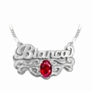 "Name Plate with Oval Shaped Birthstone ""Bianca"""