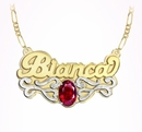 """Name Plate with Oval Shaped Birthstone """"Bianca"""""""