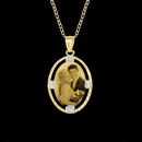 Oval Shaped portrait Pendant with Dia Cut Frame