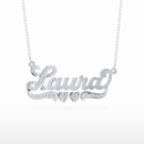 "Rhodium Beaded Name Necklace ""Laura"""