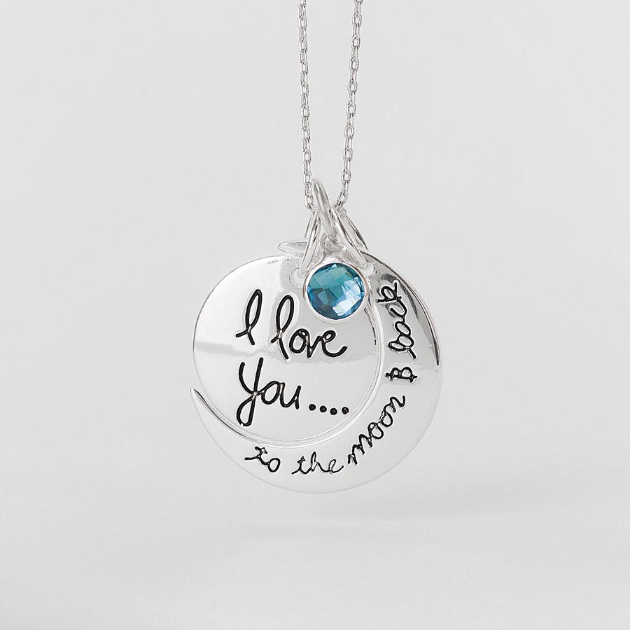 Three I Love You To The Moon And Back Pendant Necklace