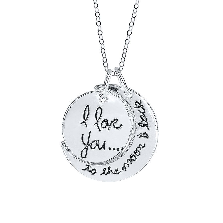 Two I Love You To The Moon And Back Pendant Necklace