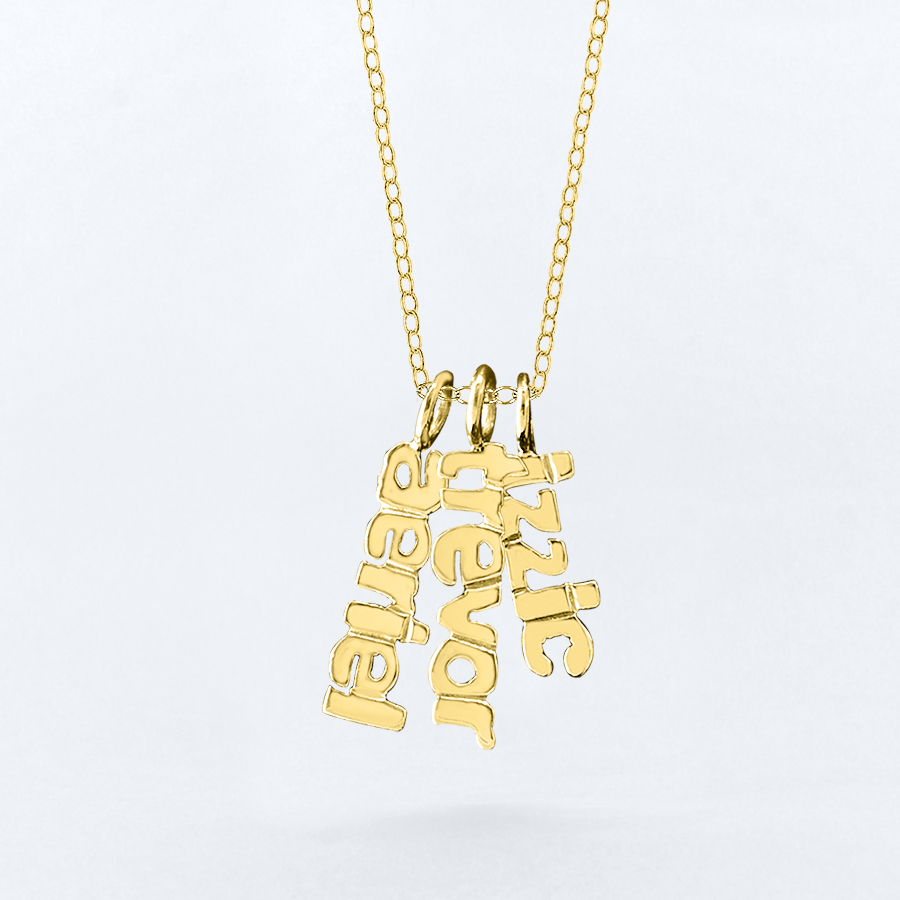 vertical mini name necklace