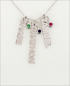 Vertical Mini Name with Birthstone Necklace
