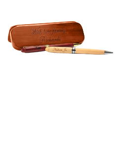 Brown Maple Double Pen Case
