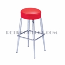 Model 264-125R<br>Classic Retro Bar or Counter Stool, Upholstered Swivel Seat, Tapered Legs with Foot Rest