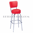 Model 265-125RB<br>Classic Retro Bar or Counter Stool, Upholstered Swivel Seat with Back, Tapered Legs with Foot Rest