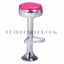 Model 500-781<br>Classic Retro Bar Stool, Bulged Chrome Ring Swivel Seat, Chrome Column, Foot Ring