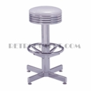 Model 500-782<br>Classic Retro Bar Stool, Grooved Chrome Ring Swivel Seat, Chrome Column, Footrest