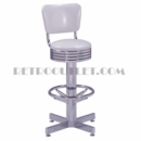 Model 500-782-RB<br>Classic Retro Bar Stool, Grooved Chrome Ring Swivel Seat with Back, Chrome Column, Footrest