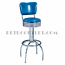 Model 300-782RB<br>Classic Retro Bar Stool, Grooved Ring Swivel Seat with Back, Arched Legs and Foot Ring