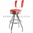 Model 400-782RB-MB<br>Classic Retro Bar Stool, Grooved Ring Swivel Seat with Channel Back and Pyramid Base