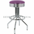 "Model 250-49NS<br>Classic Retro Bar Stool<br>Scalloped Ring Swivel Seat<br>Foot Ring<br>30"" Height"