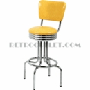 "Model 264-49NS-RB<br>Classic Retro Bar Stool, Scalloped Ring Swivel Seat with Back, Foot Ring<br>24"" or 30"" Height"