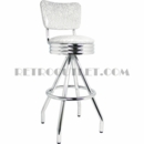 Model 400-49NS-RB<br>Classic Retro Bar Stool, Scalloped Ring Swivel Seat with Back, Pyramid Base and Foot Ring