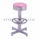 Model 500-46<br>Classic Retro Bar Stool, Smooth Chrome Ring Swivel Seat, Chrome Column, Foot Ring
