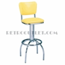 Model 300-921<br>Classic Retro Bar Stool, Swivel Seat with Back, Arched Legs and Foot Ring