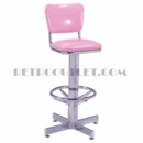 Model 500-921<br>Classic Retro Bar Stool, Swivel  Seat with Back, Chrome Column, Footrest