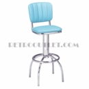 Model 300-939CB<br>Classic Retro Bar Stool, Swivel Seat with Channel Back, Arched Legs and Foot Ring