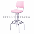 "Model 264-530<br>Classic Retro Bar Stool, Upholstered Revolving Seat with Back, Foot Ring<br>24"" or 30"" Height"