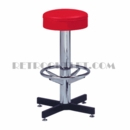 Model 500-125<br>Classic Retro Bar Stool, Upholstered Ring Swivel Seat, Chrome Column, Foot Ring
