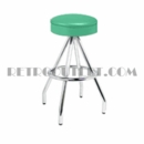 Model 400-125R<br>Classic Retro Bar Stool, Upholstered Ring Swivel Seat, Pyramid Base and Foot Ring