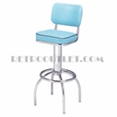 Model 300-531<br>Classic Retro Bar Stool, Upholstered Sewn Hood Swivel Seat with Back, Arched Legs and Foot Ring