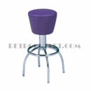 Model 300-161<br>Classic Retro Bar Stool, Upholstered Swivel Drum Seat, Arched Legs and Foot Ring