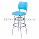 "Model 215-530<br>Classic Retro Bar Stool<br>Upholstered Swivel Seat<br>Inverted Seat Back<br>30"" Height"