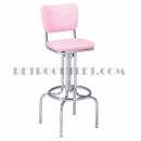 Model 264-921<br>Classic Retro Bar Stool, Upholstered Swivel Seat with Back, and Foot Ring