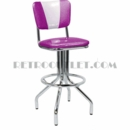 "Model 250-921""V""<br>Classic Retro Bar Stool <br>Upholstered Swivel Seat with<br>""V"" Back and Foot Ring<br>30"" Height"