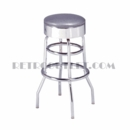 "Model 215-46<br>Classic Retro Barstool<br>Smooth Chrome Ring Swivel Seat<br>30"" Height"