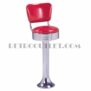Model 1500-782RB<br>Classic Retro Counter Stool, Grooved Ring Swivel Seat with Back, Chrome Column