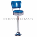 Model 1700-782RB<br>Classic Retro Counter Stool, Grooved Ring Swivel Seat with Back, Chrome Column, and Tear Drop Base