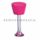 Model 1700-161<br>Classic Retro Counter Stool, Upholstered Swivel Drum Seat, Chrome Column, and Tear Drop Base